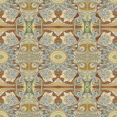 Tribal flowers gray and tan fabric by edsel2084 on Spoonflower - custom fabric
