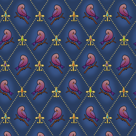 ©2011 Fleur de Lis and Finches fabric by glimmericks on Spoonflower - custom fabric