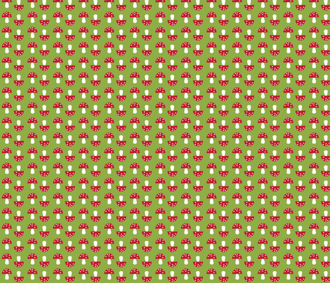 The Bunny Band Collection - green mushroom fabric by bora on Spoonflower - custom fabric