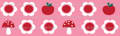 The Bunny Band Collection - pink flower, apple, mushroom