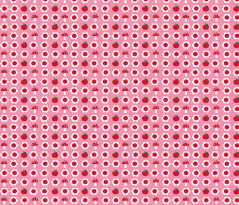 The Bunny Band Collection - pink flower, apple, mushroom fabric by bora on Spoonflower - custom fabric