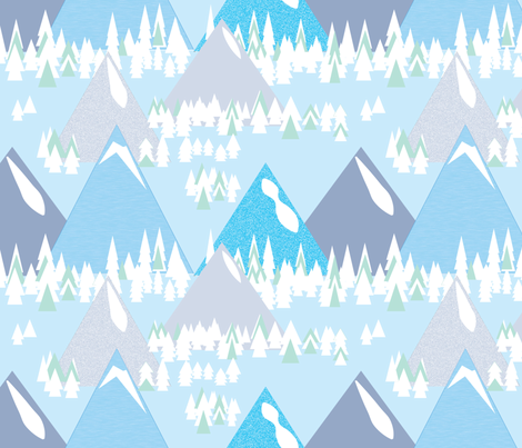 mountain town ©2015 fabric by palmrowprints on Spoonflower - custom fabric
