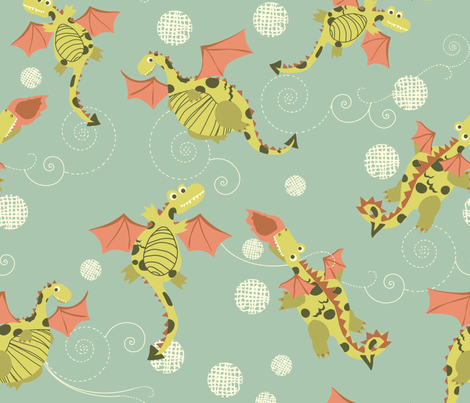 Sky Dragons fabric by marlene_pixley on Spoonflower - custom fabric