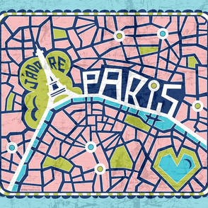 J'adore Paris Tea Towel - Map Eiffel Tower