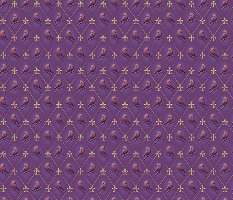 ©2011 Purple Finch and Fleur de Lis fabric by glimmericks on Spoonflower - custom fabric
