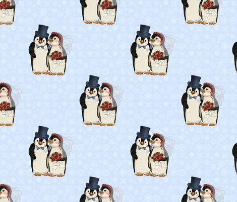 Penguin Wedding Couple on Blue