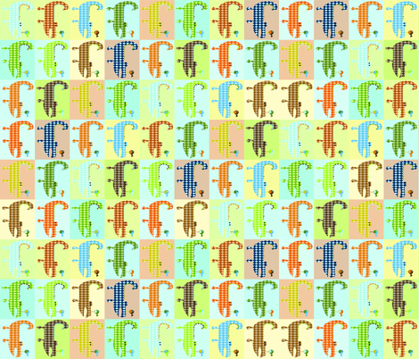 Argyle Alligators - rough colorway blocks fabric by petunias on Spoonflower - custom fabric