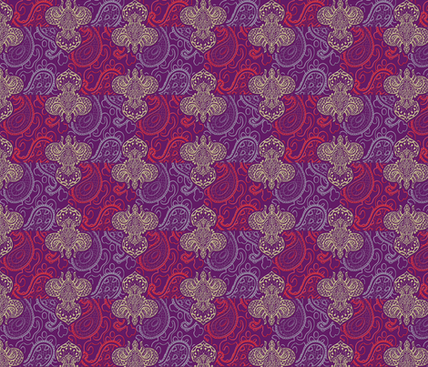 ©2011 Fleur de Lis de Paisley fabric by glimmericks on Spoonflower - custom fabric