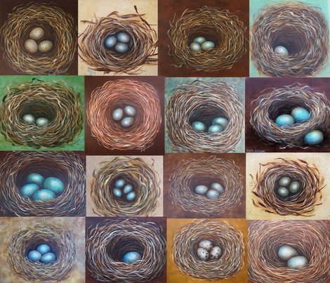 Nest Collage Fabric fabric by angelaanderson on Spoonflower - custom fabric