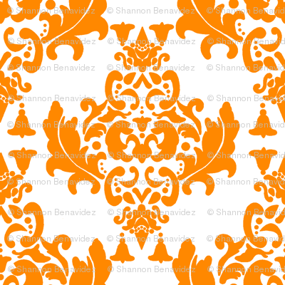 Delicious Damask in Bright Orange
