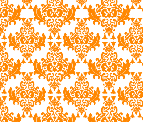 Delicious Damask in Bright Orange fabric by mayabella on Spoonflower - custom fabric