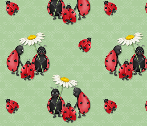 Ladybug Stroll - green fabric by spicetree on Spoonflower - custom fabric