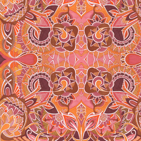 Peachy Keen Alien Gardening fabric by edsel2084 on Spoonflower - custom fabric