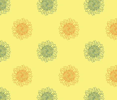 Sunny Sunflower fabric by woodle_doo on Spoonflower - custom fabric