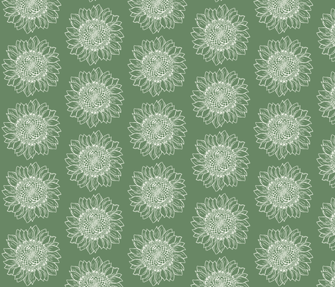 Big Green Sunflower fabric by woodle_doo on Spoonflower - custom fabric