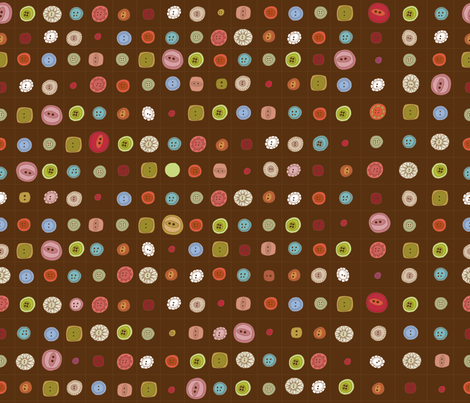 Nanny's Button Jar- Chocolate fabric by cynthiafrenette on Spoonflower - custom fabric