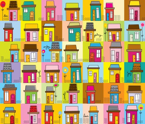 Happy Lil' Houses fabric by cynthiafrenette on Spoonflower - custom fabric