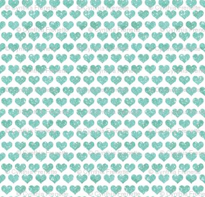 Glitter Hearts Sky Blue