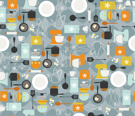 Mod Kitchen fabric by cynthiafrenette on Spoonflower - custom fabric