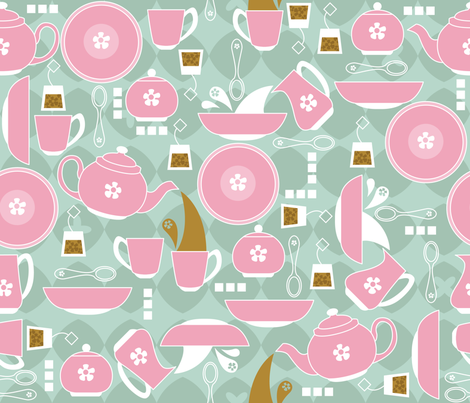 Pink Party Plates fabric by cynthiafrenette on Spoonflower - custom fabric