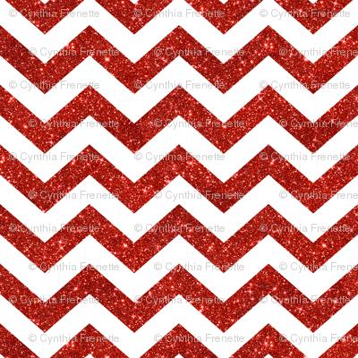 Glitter Chevrons Red