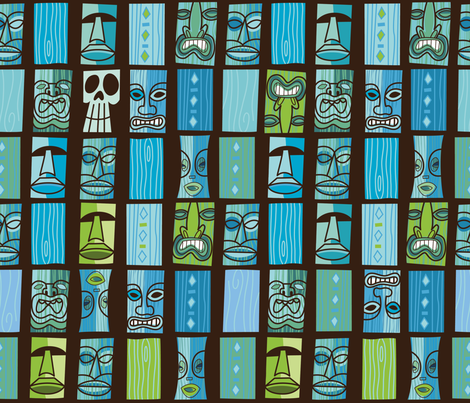 Tiki Tiki in the Moonlight fabric by cynthiafrenette on Spoonflower - custom fabric