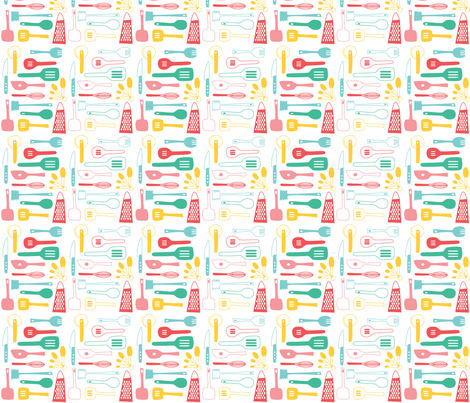 Kitschy Utensils in Retro  fabric by threebysea on Spoonflower - custom fabric