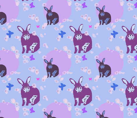 Bunny with Blue fabric by captiveinflorida on Spoonflower - custom fabric