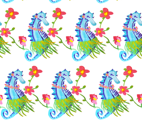 seahorse hula (acrylic) 2012 © Jill Bull fabric by palmrowprints on Spoonflower - custom fabric