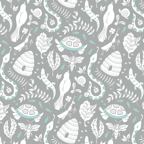 Backyard Party Gray fabric by pattysloniger on Spoonflower - custom fabric