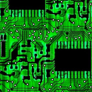 Computer circuits green and black