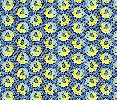 Porcupine Puffer Pattern fabric by siya on Spoonflower - custom fabric