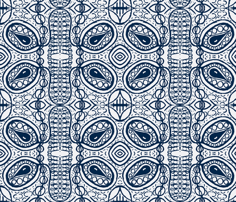 Prussian blue on white tear pods fabric by tallulah11 on Spoonflower - custom fabric