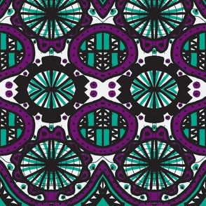 Afternoon doodle purple/teal