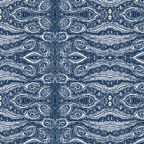 Prussian blue/white  tear pod fabric by tallulah11 on Spoonflower - custom fabric