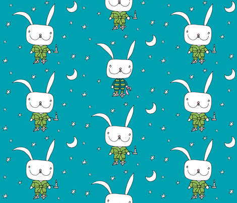 bedtime for little rabbit_dblue_stars fabric by voici_eline on Spoonflower - custom fabric