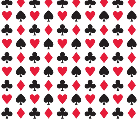 In Wonderland: Hearts, clubs, diamonds, & spades fabric by jazzypatterns on Spoonflower - custom fabric