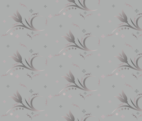 Tulip Mist small in grey and pink © 2009 Gingezel™ Inc. fabric by gingezel on Spoonflower - custom fabric
