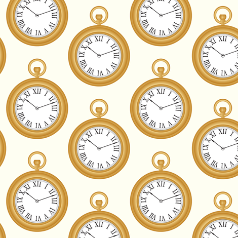 In Wonderland: What's the time? fabric by jazzypatterns on Spoonflower - custom fabric