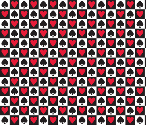 In Wonderland: Hearts and Spades fabric by jazzypatterns on Spoonflower - custom fabric