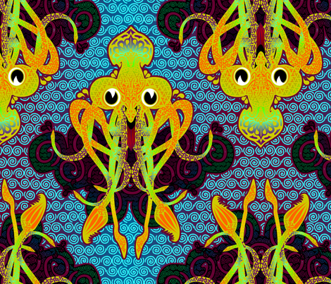The Squid Majestic fabric by glimmericks on Spoonflower - custom fabric