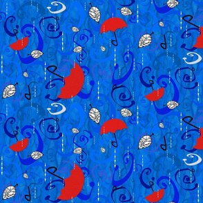 Blue Rain Red Umbrellas