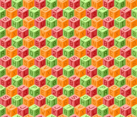 alphanum cubes ROL fabric by sef on Spoonflower - custom fabric
