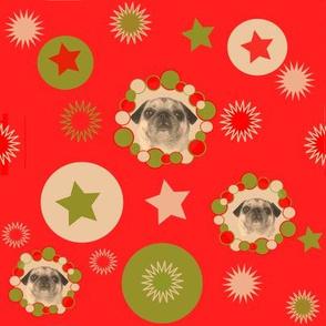 christmas fabric - pug fabric