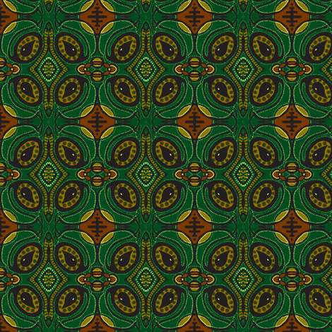 Tear pod flowers - green/brown fabric by tallulah11 on Spoonflower - custom fabric