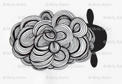 modern black and white swirly sheep