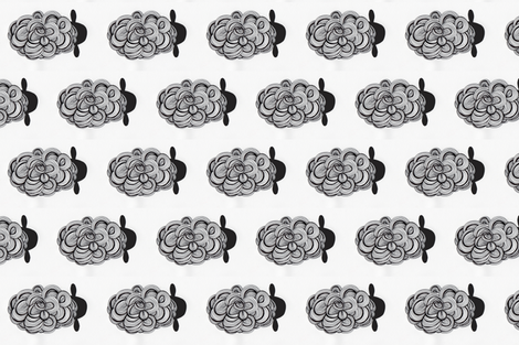 modern black and white swirly sheep fabric by mommycoddle on Spoonflower - custom fabric