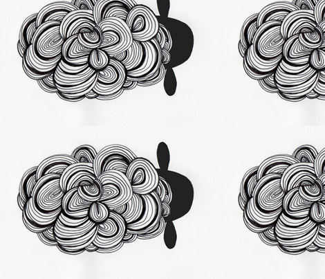 sheep_only_BW_bk_head fabric by mommycoddle on Spoonflower - custom fabric