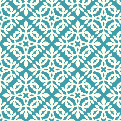 BRIGHT BLUE-TURQUOISE & cream mini-papercut2 fabric by mina on Spoonflower - custom fabric