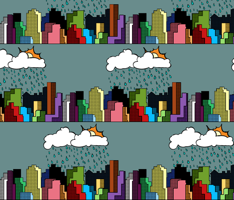 It Rains in the City fabric by pond_ripple on Spoonflower - custom fabric